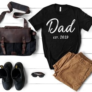 New Dad Est.2019 Black Tee for New Dads!